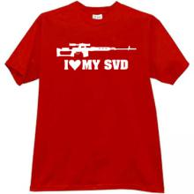 I LOVE MY SVD Cool Weapon T-shirt in red