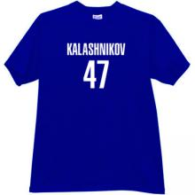 KALASHNIKOV 47 Cool russian rifle AK-47 t-shirt in blue