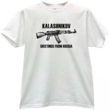 KALASHNIKOV AK-47 Greetings From Russia T-shirt in white
