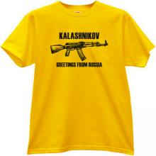 KALASHNIKOV AK-47 Greetings From Russia T-shirt in yellow
