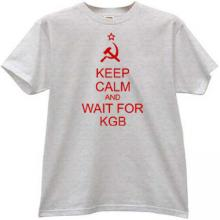Keep Calm and wait for KGB Funny T-shirt in gray