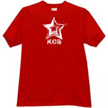 KGB red Star CCCP Russian Secret police T-shirt in red