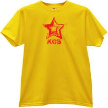 KGB red Star CCCP Russian Secret police T-shirt in yellow