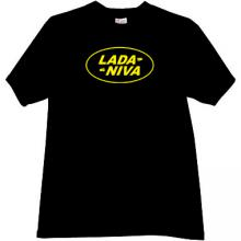 LADA NIVA Russian Auto funny logo T-shirt in black