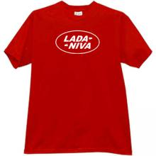 LADA NIVA Russian Auto funny logo T-shirt in red