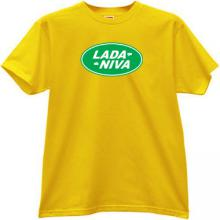 LADA NIVA Russian Auto funny logo T-shirt in yellow