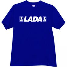 LADA Russian Car with old logo T-shirt in blue