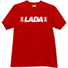 LADA Russian Car with old logo T-shirt in red