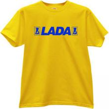 LADA Russian Car with old logo T-shirt in yellow