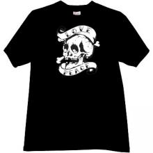 Love and Peace Skull T-shirt in black