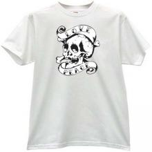 Love and Peace Skull T-shirt in white