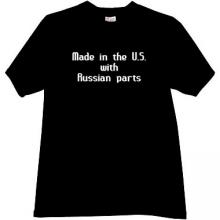 Made in US with Russian Parts Funny T-shirt in black