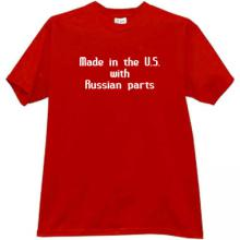 Made in US with Russian Parts Funny T-shirt in red