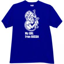 My Girl From Russia Funny Kalashnikov T-shirt in blue