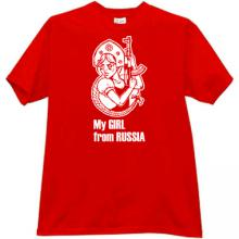 My Girl From Russia Funny Kalashnikov T-shirt in red