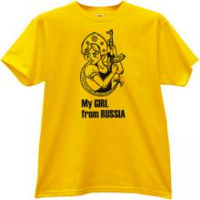 My Girl From Russia Funny Kalashnikov T-shirt in yellow