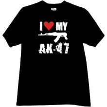 NEW! I Love My AK-47 Cool Weapon russian T-shirt in black