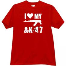 NEW! I Love My AK-47 Cool Weapon russian T-shirt in red