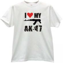 NEW! I Love My AK-47 Cool Weapon russian T-shirt in white