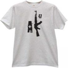 New AK47 weapon T-shirt in gray