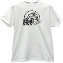 NIVA 4x4 Russian Car t-shirt in white