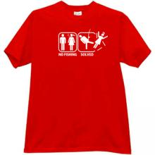 No Fishing - Solved. Funny T-shirt in red