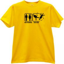 No Fishing - Solved. Funny T-shirt in yellow