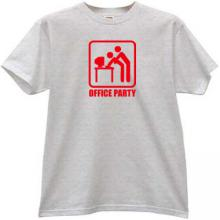 Office Party Funny T-shirt in gray