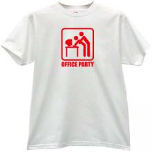 Office Party Funny T-shirt in white