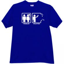Problem and Solution Funny T-shirt in blue