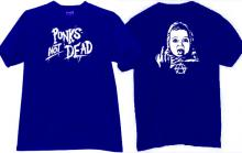 Punks Not Dead Funny Music T-shirt in blue