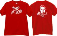 Punks Not Dead Funny Music T-shirt in red