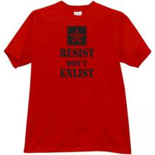 Resist Dont Enlist Cool russian T-shirt in red