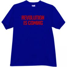 Revolution is coming T-shirt in blue