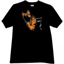 Rock Cat Cool Music T-shirt in black