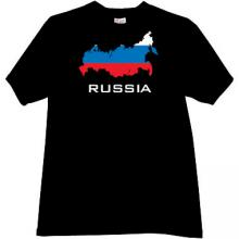 RUSSIA Patriotic T-shirt in black EN