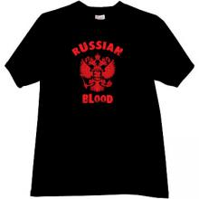 RUSSIAN BLOOD Cool Russian Patriotic T-shirt in black
