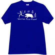 Siberian Fast Food! Funny T-shirt in blue