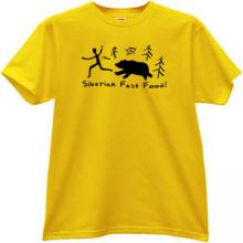 Siberian Fast Food! Funny T-shirt in yellow