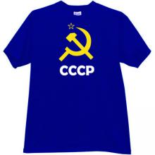 Sickle and Hammer with CCCP (USSR) Russian T-shirt in blue
