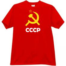 Sickle and Hammer with CCCP (USSR) Russian T-shirt in red