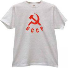 Sickle with Hammer and CCCP Russian T-shirt in gray