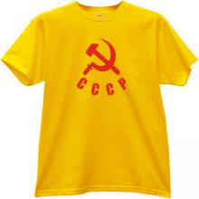 Sickle with Hammer and CCCP Russian T-shirt in yellow