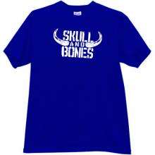 Skull and Bones Funny T-shirt in blue