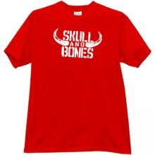 Skull and Bones Funny T-shirt in red
