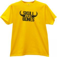 Skull and Bones Funny T-shirt in yellow