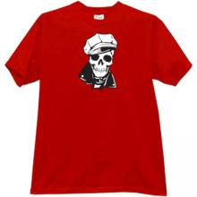 Skull in cap T-shirt in red