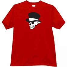 Skull in hat T-shirt in red