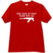 Feel Safe at Night Sleep with an AK47 Cool T-shirt in red