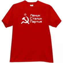 Lenin, Stalin, Party - Cool Russian patriotic T-shirt in red